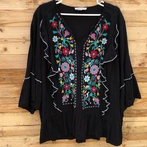 Grand & Greene | Ruffled Embroidered Blouse 2X